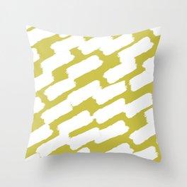 Brushstrokes - Green & White Throw Pillow