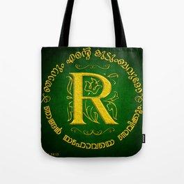 Joshua 24:15 - (Gold on Green) Monogram R Tote Bag