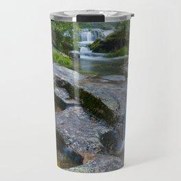 Waterfalls in wild forest Travel Mug