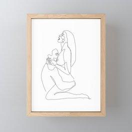 Sitting on lap - One Line Erotic Framed Mini Art Print