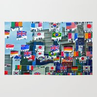 korean Area & Throw Rugs featuring Flags in a Korean Marketplace by Anthony M. Davis