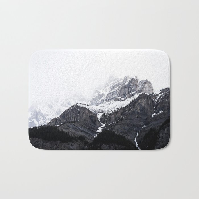 Moody snow capped Mountain Peaks – Nature Photography bath mat by Stay Positive Design
