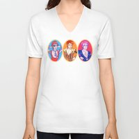 bowie V-neck T-shirts featuring Bowie by Jessica Fink