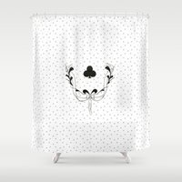 poker Shower Curtains featuring POKER CLUBS by Noly Riv Mir