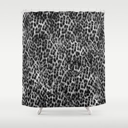 Cheetah Fur Texture - Black and White Shower Curtain