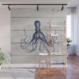 Navy Blue Deep Ocean Giant Squid On Barnboard Wall Mural
