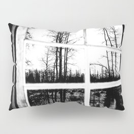 Lumberjack Cabin Window // B W Grainy Reflection of the Sunset and Trees Pillow Sham