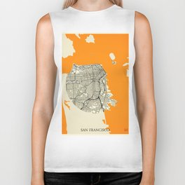 San Francisco Map Moon Biker Tank