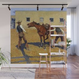 "Frederic Remington Western Art ""His First Lesson"" Wall Mural"