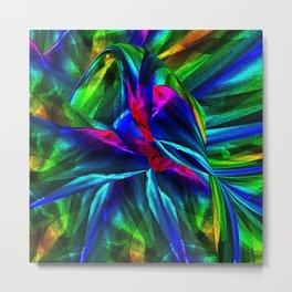 Tropical Bird sits on a Tropical Tree Metal Print