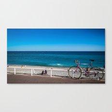 Beach and the bike - Nice, France summer Canvas Print