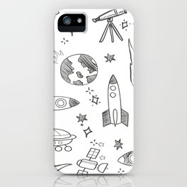 Hand Drawn Space Elements iPhone Case