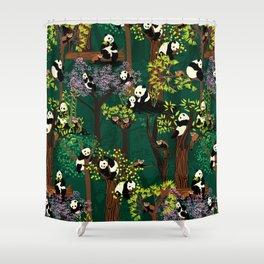 Both Species of Panda - Green Shower Curtain
