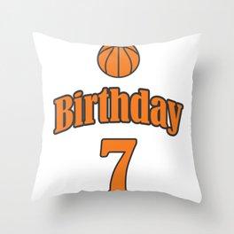 7th Birthday Basketball Funny Boy Girl Kids Gift Throw Pillow