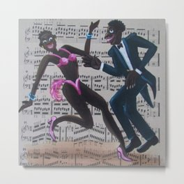 African American 'Apollo Theater Sheet Music Portrait No. 7' Lindy Hop by Miguel Covarrubias Metal Print