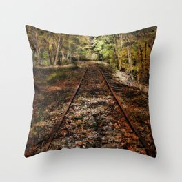 Forward Along the Railroad Tracks Throw Pillow