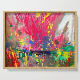 Kid's easel splattered with paint Serving Tray