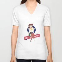 military V-neck T-shirts featuring Military Girl by SlapJacktheMonkey