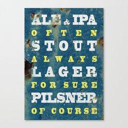 Beer always, vintage poster, metal texture background Canvas Print
