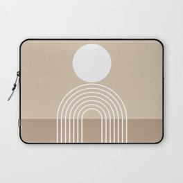 Geometric Lines in Beige and Brown (Sun and Rainbow abstraction) Laptop Sleeve