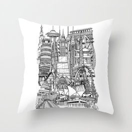 the world / black and white Throw Pillow