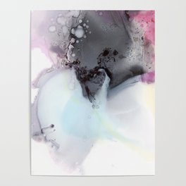 Abstract composition in blue and grey Poster