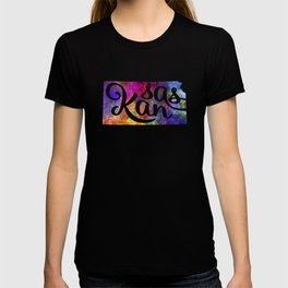 Kansas US State in watercolor text cut out T-shirt