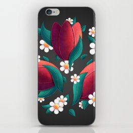 Bouquet (Tulipes et Marguerittes) Noir iPhone Skin