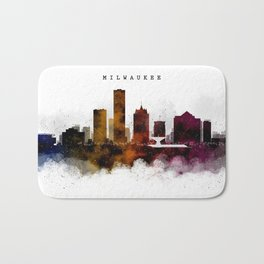 Milwaukee Watercolor Skyline Bath Mat