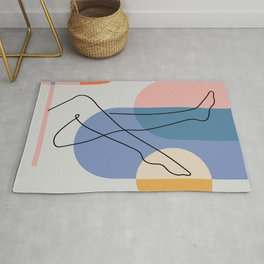 One line continuous of sexy body set Single line drawing art Woman body isolated Geometric shapes 03 Rug