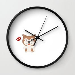 I Kissed An Akita And I Liked It Cute Dog Kiss Gift Idea Wall Clock