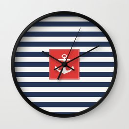Anchor on blue and white stripes Wall Clock