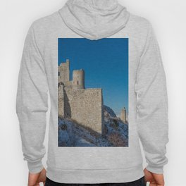 Winter panoramic view with ancient castle Hoody