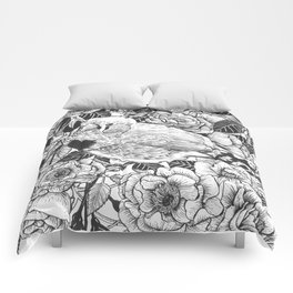 Zebra finch and rose bush ink drawing Comforters
