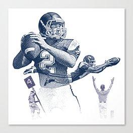 Quarterback throwing a touchdown pass. Canvas Print