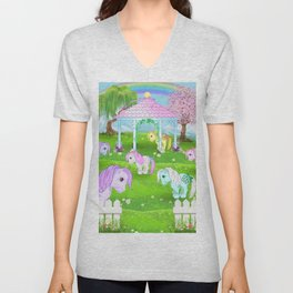 g1 my little pony collector ponies pagoda meadow Unisex V-Neck