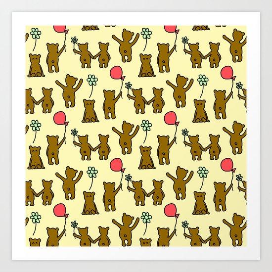 Happy Teddies  Art Print