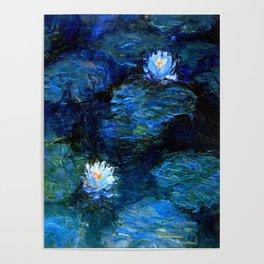 monet water lilies 1899 Blue teal Poster