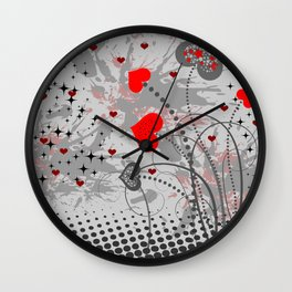 Abstract background with red hearts Wall Clock