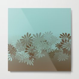 Teal and Tan Azalea pattern Metal Print