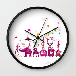 colorful circus carnival traveling in one row on white background Wall Clock