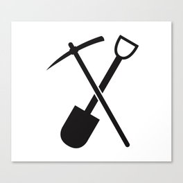 shovel and pickaxe Canvas Print