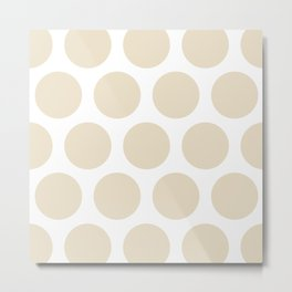 Large Polka Dots: Light Beige Metal Print