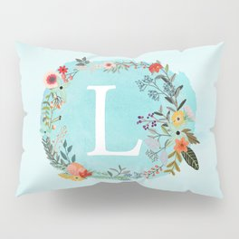 Personalized Monogram Initial Letter L Blue Watercolor Flower Wreath Artwork Pillow Sham