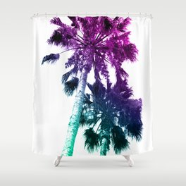 Retro Vintage Ombre Pop Art Los Angeles, Southern California Palm Tree Colored Print Shower Curtain