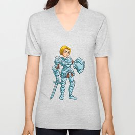 Warrior Princess With Battle sword and Shield Unisex V-Neck
