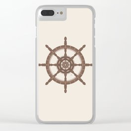 AFE Nautical Helm Wheel - Brown Clear iPhone Case