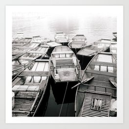 Boats in Vietnam Black and White Art Print