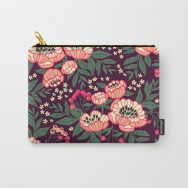 11 Floral pattern with peonies.Bright pink flowers. Dark violet background. Carry-All Pouch
