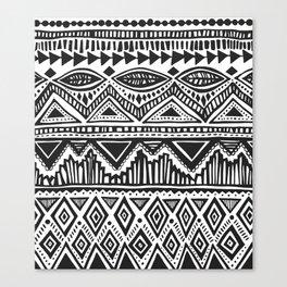 zig-zag handdrawn black and white Canvas Print
